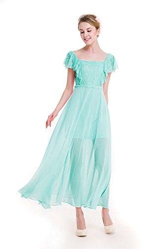 claro espaguetis noche mujer 00633 Moda Mena línea Verde de vestido de UK encaje de FRx1OBw