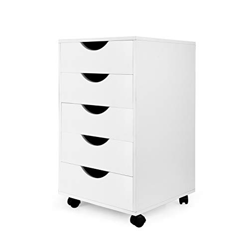 eMerit 5 Drawer Wood File Cabinet Roll Cart Drawer for Office Organization White ()