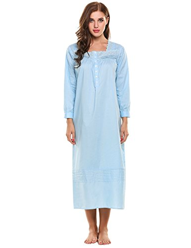 (Hotouch Women's Sleeping Cotton Blend Long Sleeve Nightgown Light Blue S )