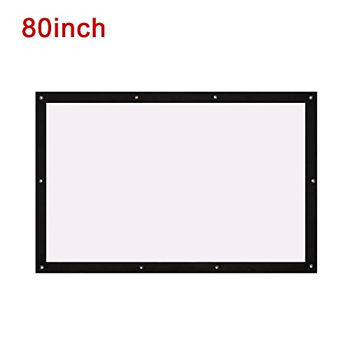 Folded Projection Screen Projector Cloth Screen Durable 4:3 with Hanging Hole School Gaming_80 inch by ZZH