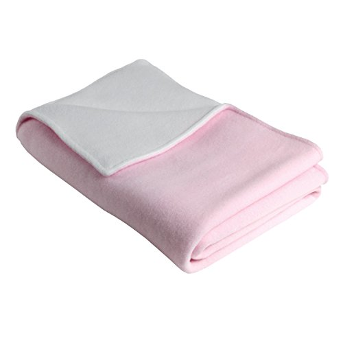 Original Turtle Fur Fleece - Baby Security Blanket, Light Pink/White