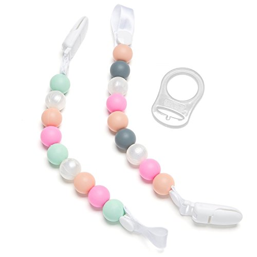 Teether Pacifier Clip, 2 Pack Pink Pearls Design For Girls,