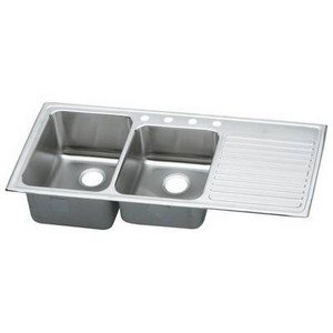 (Elkay ILGR4822R3 Gourmet Lustertone Double Bowl Sink with Three Holes and Left Ribbed Area, Stainless Steel)