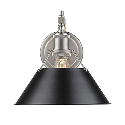 Golden Lighting Orwell PW 1 Light Wall Sconce in Pewter w/Black Shade - Blk Wall Lantern