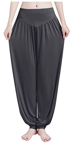 (ARJOSA Women's Cotton Spandex Wide Leg Lounge Harem Yoga Pants (XL, Ash Gray))