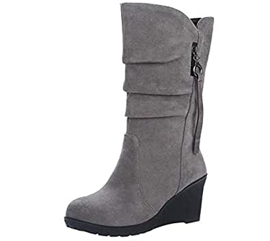 Amazon.com | Esharing Winter Wedges Knee High Boots Mid