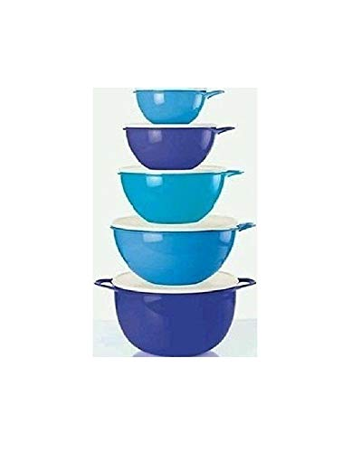Tupperware Thatsa Bowls 5 piece Set in Salt Water Taffy, Raindrop Blue and Berry Bliss colors New ()