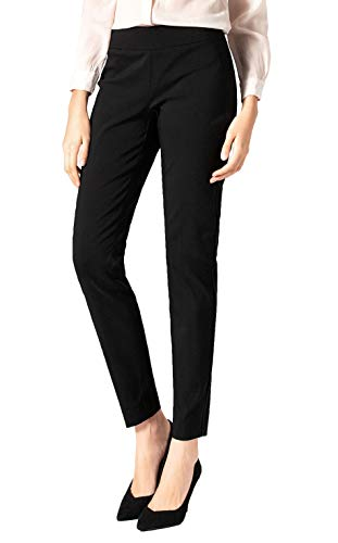 SATINATO Women's Straight Pants Stretch Slim Skinny Solid Trousers Casual Business Office (14 Regular, Black-Elasticized Waistband)