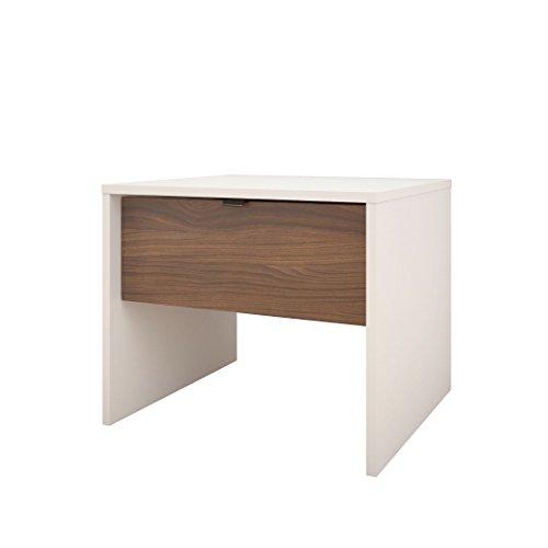 Nexera 212103 1-Drawer Night Stand, White/Walnut