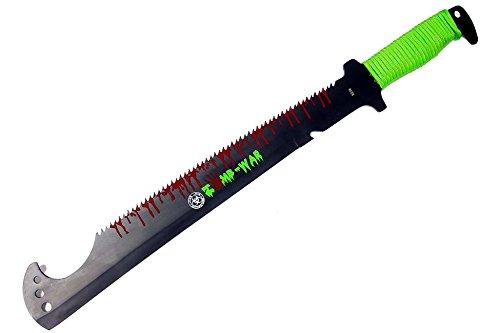 Defender Full Tang Black Stainless Steel Blade Green Zomb-War Sword 20