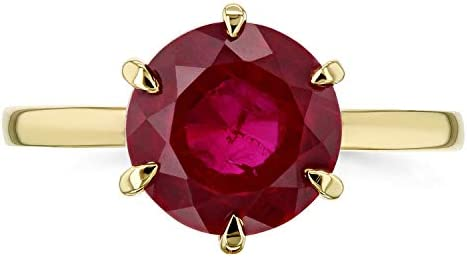 Kobelli Created Red Ruby 6-Prong Solitaire Ring 10mm 14k Yellow Gold