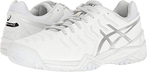 - ASICS Men's Gel-Resolution 7 Tennis Shoe, White/Silver, 10.5 M US