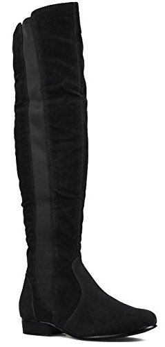 WOMENS LADIES THIGH HIGH OVER KNEE FLAT WINTER STRETCH STYLE WIDE CALF LEG LOW HEEL KNEE BOOTS SIZE 3-8 Black Faux Suede 5qOxITDBV