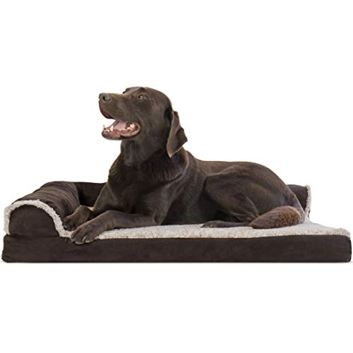 Furhaven Pet – Two-Tone L Shaped Orthopedic Corner Sofa Dog Bed, Orthopedic Sofa Dog Bed, Round Sherpa Blanket Snuggery…
