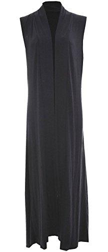 WearAll Women's Long Maxi Open Sleeveless Cardigan - Black - US 8-10 (UK 12-14) ()