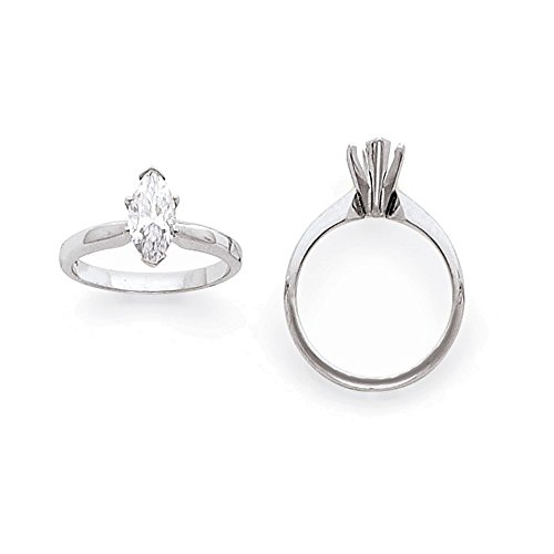 - Jewelry Adviser 14k White Gold 1/2ct. High-Shoulder Marquise Solitaire Mounting