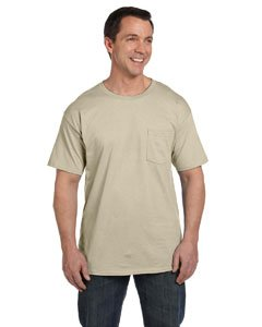 Hanes Beefy-T Adult Pocket T-Shirt, Sand, XL (Hanes T-shirts Beefy Blank T)
