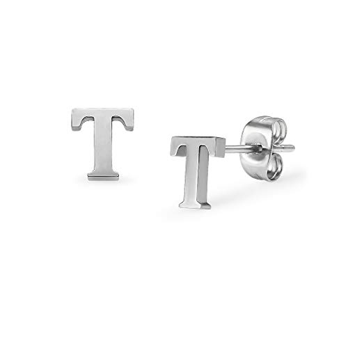 (Alphabet Initial Letter Tiny Earring Studs Stainless Steel Silver Tone Letters T)