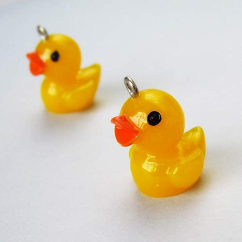 (Pendant Jewelry Making Rubber Duck Charms 22mm Wholesale Yellow Resin 5pcs)