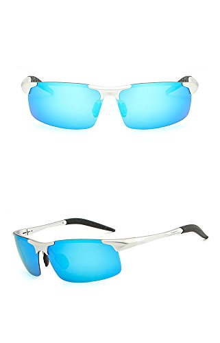 gafas RFVBNM Gafas la personalidad espejo hombres de magnesio sol polarizador de de aire de conductor de del sol al del del la los plata del le marco azul lente marco de de gafas sol ULTRAVIOLETA libre anti aluminio manera rUxqdpwrf