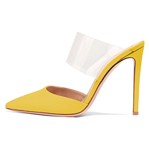 Mules Pointed Party 4 Women Clear 15 Size Sexy Shoes Yellow High Heels FSJ Stiletto Sandals Toe US 8Yq4v4