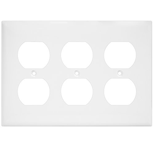 Modern Outlet Cover (Duplex Wall Plate by Enerlites 8823-W Electrical Outlet Cover, 3-Gang Standard Size, White, Unbreakable Poly-Carbonate, Decorative GFCI Receptacle Switch Power Plug 6 Holes Panel Square Faceplate)