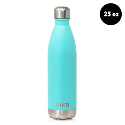 MIRA 25 Oz Stainless Steel Water Bottle - Double Walled Vacuum Insulated Cola Shape Thermos Flask - 24 Hours Cold, 12 Hours Hot - Reusable Metal Water Bottle - Leak-Proof Sports Bottle - Teal