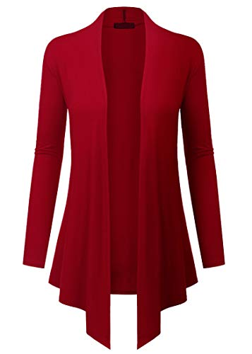 TWKIOUE Navy Blue Cardigan, Women's Casual Long Sleeved Open Front Lightweight Drape Cardigan Red XL