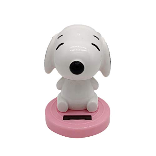 (Misszhang-US Solar Powered Dancing Swing Cute Dog Shape Home Car Ornamnet Decoration - Pink)