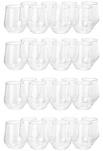 32 count 12 oz Unbreakable Stemless Plastic Wine Champagne Glasses Elegant Durable Reusable Shatterproof Indoor Outdoor Ideal for Home, Office, Bars, Wedding, Bridal Baby Shower by Oojami (Image #1)