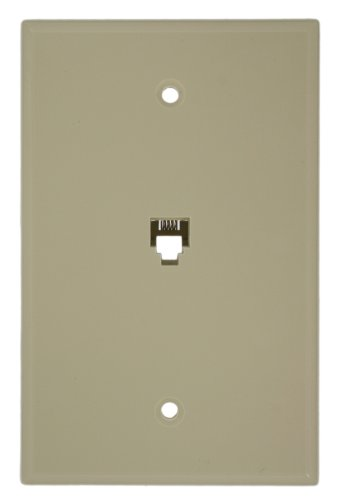 Leviton 40549-I Type 625B4 Telephone Midway Wall Plate Flush Mount Jack, 1 Modular 6P4C Jack, Screw Terminals, ()
