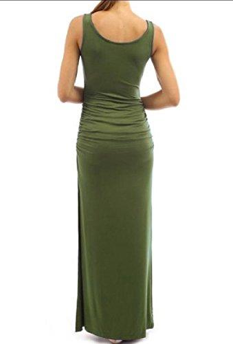 Coolred-femmes Smockée Taille Crayon Fendue Sans Manches Drapée Vert Robe Longue