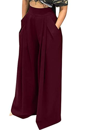 Lucuna Women's Office Long Straight with Belt High Waisted Stretch Pants from Lucuna