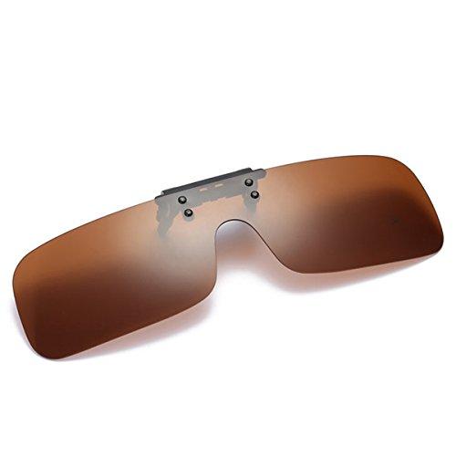 Tacloft Rectangular Clip on Sunglasses 63MM Unisex Polarized Flip up Sunglass Tea