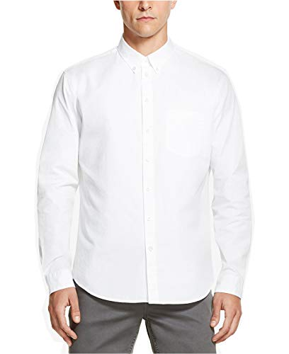 DKNY Mens Twill Relaxed Fit Standard Button Down Shirt White XL Dkny Button Down Shirt