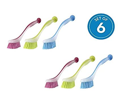 Dish Brush with Suction Cup by Spogears, The Dishwashing Brushes Set  Includes 6 Kitchen Scrub Brush 3 Assorted Colors, Long & Grip Friendly  Handle, ...