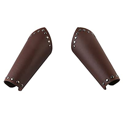 HZMAN Faux Leather Arm Guards - Medieval Knight Bracers - One Size, Black or Brown