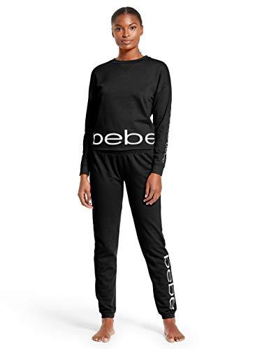 Plus Size Bebe (bebe Womens Long Sleeve Shirt and Skinny Leg Pants Lounge Pajama Sleep Set Black)