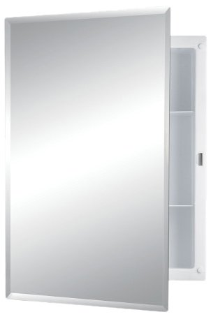 Jensen 781037 Builder Series Frameless Medicine Cabinet with Beveled Edge Mirror, 16-Inch -