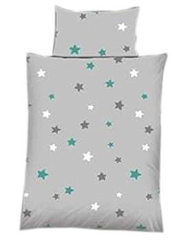 Baby Bettwäsche Sterne / Stars grau Baumwolle 100 x 135 cm & 40 x 60 cm mit Reißverschluss (petrol) ka