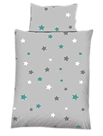 Baby Bettwäsche Sterne Stars Grau Baumwolle 100 X 135 Cm 40 X 60