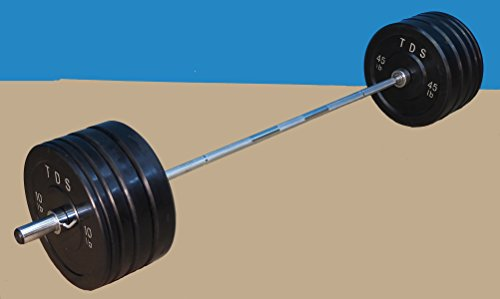 TDS 260lbs Virgin Rubber Bumper plates with 1000lb rated Chrome plated Bearing Bar with Deluxe Chrome plated steel collars. Best for Crossfit Training and weight lifting.