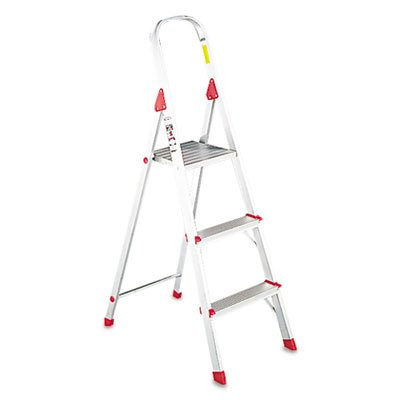 Louisvilleamp;reg; - #566 Three Foot Folding Aluminum Euro Platform Ladder, Red - Sold As 1 Each - Locking platform provides large standing area. (Three 566 Foot)