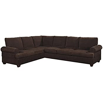 Poundex Bobkona Dyson Corduroy Sectional Sofa in Chocolate  sc 1 st  Amazon.com : chocolate corduroy sectional - Sectionals, Sofas & Couches