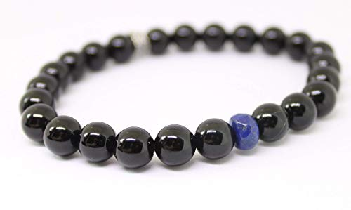 The LEO bracelet, Unisex Black Onyx and Lapis Gemstone Beaded Wellness Bracelet, Thin Blue Line, Line of Duty, Police Officer, holistic well being, crystal energy, protective energy, minimalist