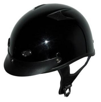 (DOT Vented Gloss Black Motorcycle Half Helmet with Visor (Size L, LG, Large) )