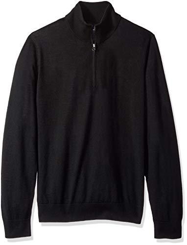 BUTTONED DOWN Men's Italian Merino Wool Lightweight Cashwool Quarter-Zip Sweater, Black, Large