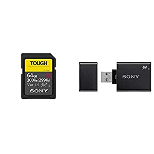 Sony Tough-G Series SDXC UHS-II Card 64GB, V90, CL10, U3, Max R300MB/S, W299MB/S (SF-G64T/T1) & MRW-S1 High Speed Uhs-II USB 3.0 Memory Card Reader/Writer for SD Cards Memory Card Readers