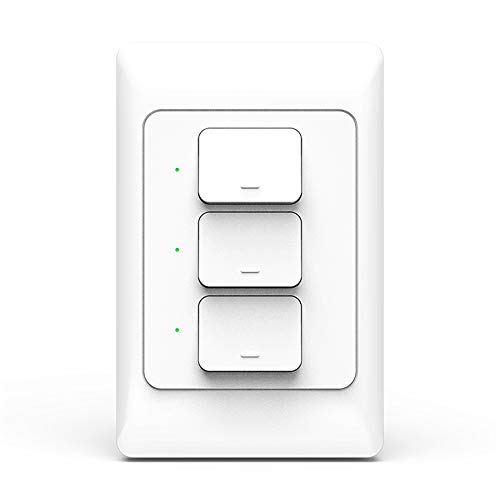 Light Switch, WiFi enabled, Compatible with Alexa and the Google Assistant,IFTTT,LED/Incandescent Switch,No Hub Required,Neutral wire requires (three gang) - Incandescent Three Light Wall