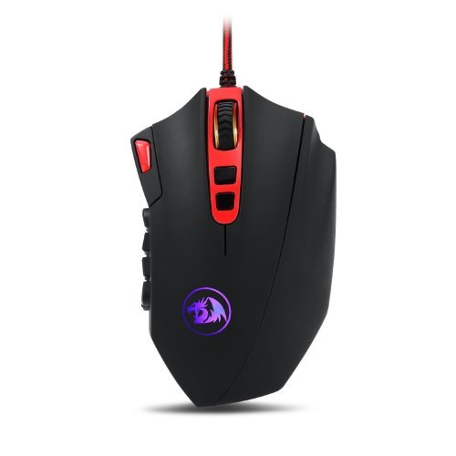 Gaming Mouse for PC Games M901 Perdition Redragon MMO Mouse LED RGB Wired Gaming Mouse 16400 DPI High-Precision Laser Computer Gaming Mouse with 18 Programmable Buttons (Black)